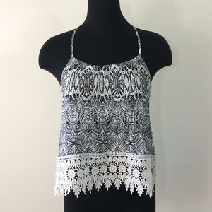 rue21 | Black White Lace Cropped Tank Top Large